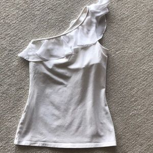 Express White One Shoulder Ruffle Top